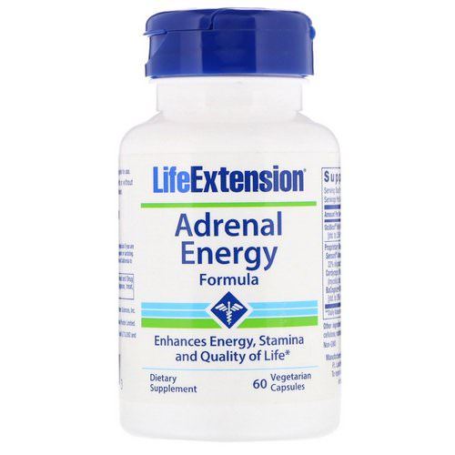 Life Extension, Adrenal Energy Formula, 60 Vegetarian Capsules Review