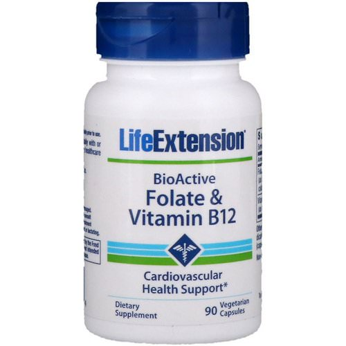 Life Extension, BioActive, Folate & Vitamin B12, 90 Vegetarian Capsules Review