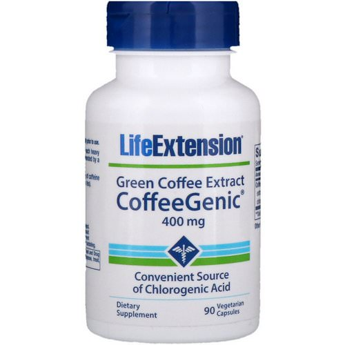 Life Extension, CoffeeGenic, Green Coffee Extract, 400 mg, 90 Vegetarian Capsules Review