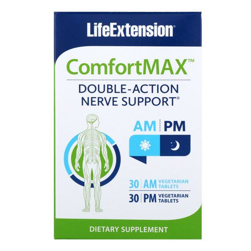 Life Extension, ComfortMax, Double-Action Nerve Support, For AM & PM, 30 Vegetarian Tablets Each Review