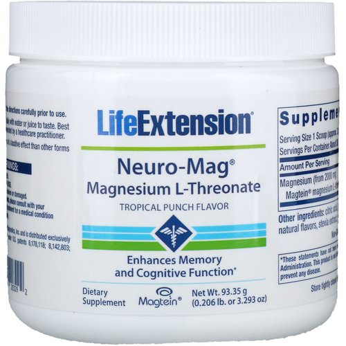 Life Extension, Neuro-Mag, Magnesium L-Threonate, Tropical Punch Flavor, 3.293 oz (93.35 g) Review
