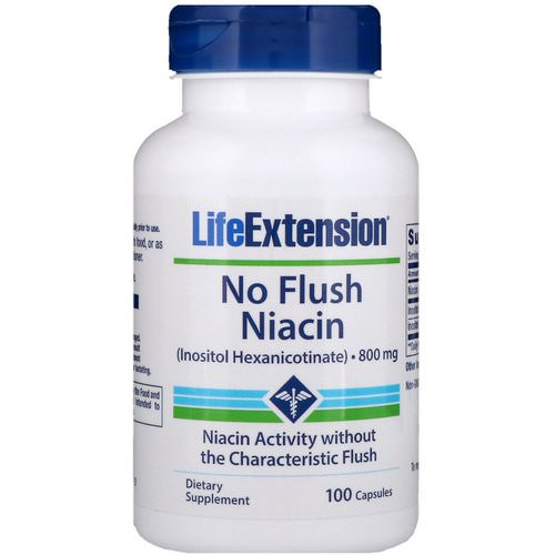 Life Extension, No Flush Niacin, 800 mg, 100 Capsules Review