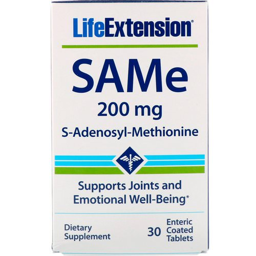 Life Extension, SAMe, S-Adenosyl-Methionine, 200 mg, 30 Enteric Coated Tablets Review