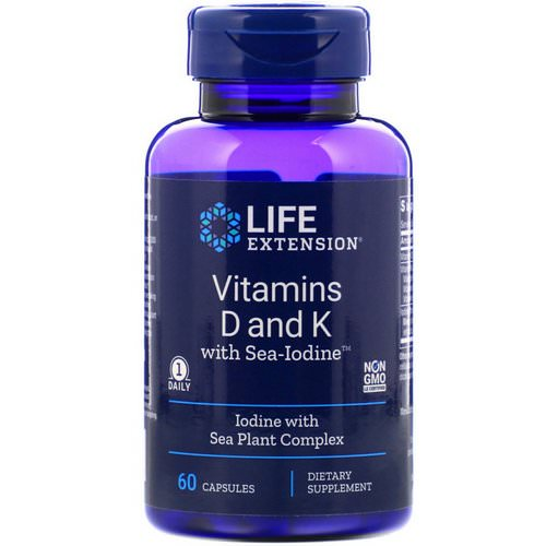 Life Extension, Vitamins D and K with Sea-Iodine, 60 Capsules Review