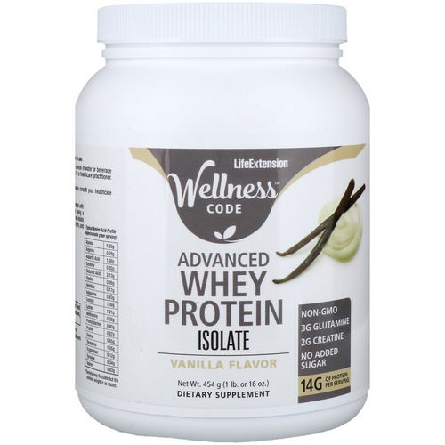 Life Extension, Wellness Code, Advanced Whey Protein Isolate, Vanilla Flavor, 1 lb (454 g) Review