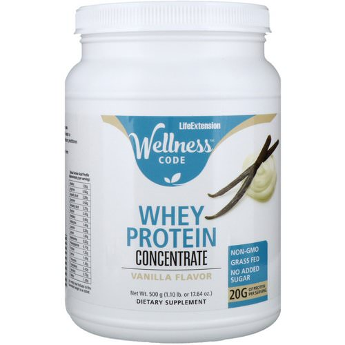 Life Extension, Wellness Code, Whey Protein Concentrate, Vanilla Flavor, 1.1 lbs (500 g) Review