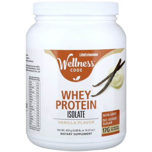Life Extension, Wellness Code, Whey Protein Isolate, Vanilla Flavor, 0.89 lb (403 g) Review