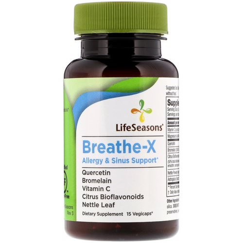 LifeSeasons, Breathe-X, Allergy & Sinus Support, 15 Vegetarian Capsules Review