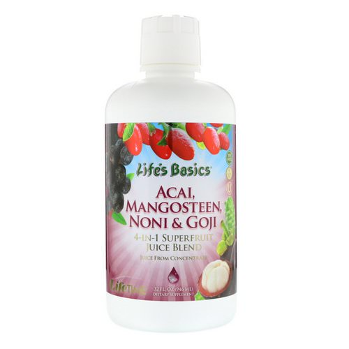 LifeTime Vitamins, Life's Basics, 4-In-1 Superfruit Juice Blend, Acai, Mangosteen, Noni & Goji, 32 fl oz (946 ml) Review