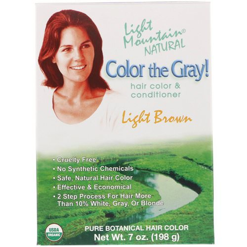 Light Mountain, Color the Gray! Natural Hair Color & Conditioner, Light Brown, 7 oz (198 g) Review