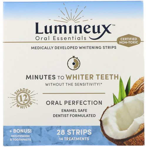 Lumineux Oral Essentials, Whitening Strips, 28 Strips + Bonus Mouthwash & Toothpaste, 28 Strips Review