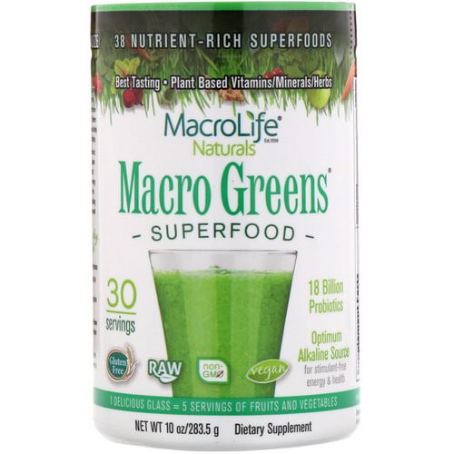 Macrolife Naturals, Macro Greens, Nutrient - Rich Superfoods, 10 oz (283.5 g) Review
