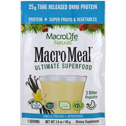 Macrolife Naturals, Macromeal Ultimate Superfood, Vanilla Protein + Superfoods, 1.4 oz (40 g) Review