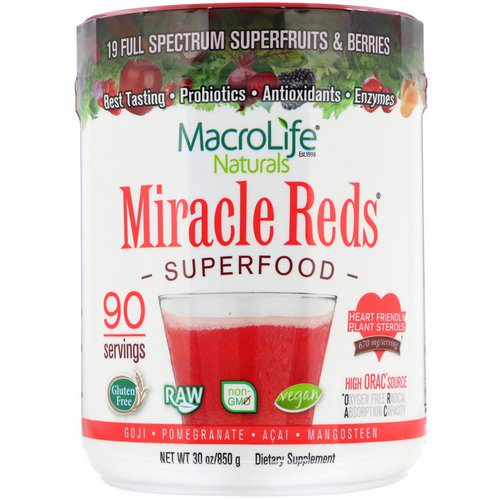 Macrolife Naturals, Miracle Reds, Superfood, Goji- Pomegranate- Acai- Mangosteen, 1.9 lbs (850 g) Review