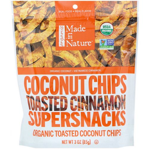 Made in Nature, Organic Coconut Chips, Toasted Cinnamon Supersnacks, 3 oz (85 g) Review