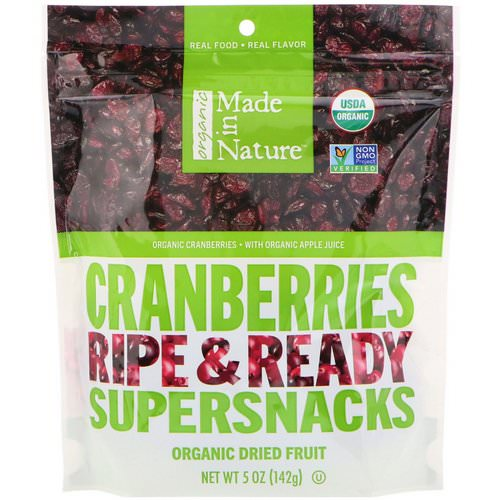 Made in Nature, Organic Dried Cranberries, Ripe & Ready Supersnacks, 5 oz (142 g) Review