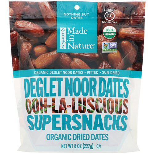 Made in Nature, Organic Dried Deglet Noor Dates, Ooh-La-Luscious Supernacks, 8 oz (227 g) Review