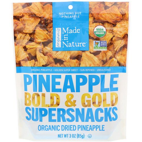 Made in Nature, Organic Dried Pineapple, Bold & Gold Supersnacks, 3 oz (85 g) Review
