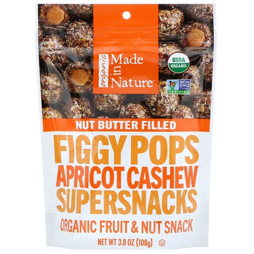 Made in Nature, Organic Figgy Pops, Apricot Cashew Supersnacks, 3.8 oz (108 g) Review