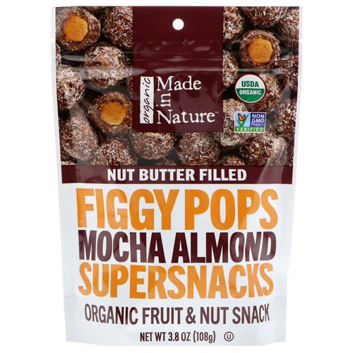 Made in Nature, Organic Figgy Pops, Mocha Almond Supersnacks, 3.8 oz (108 g) Review
