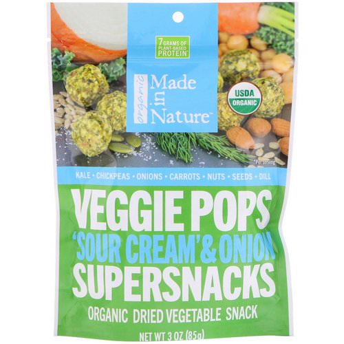 Made in Nature, Organic Veggie Pops, 'Sour Cream' & Onion Supersnacks, 3 oz (85 g) Review