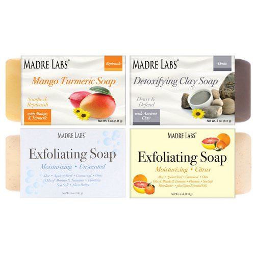 Madre Labs, 4 Cleansing Bar Soaps, Variety Pack, 4 Scents, 5 oz (141 g) Each Review