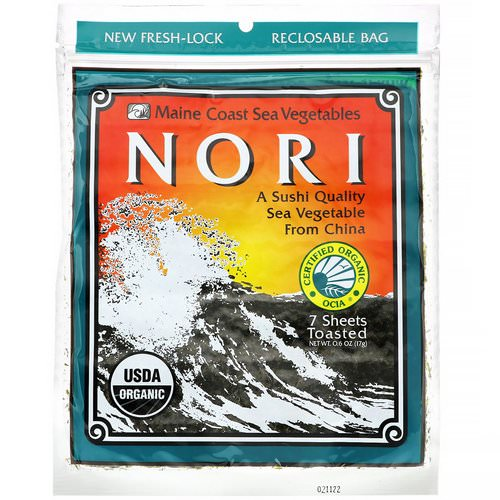 Maine Coast Sea Vegetables, Nori, 7 Sheets, 0.6 oz (17 g) Review