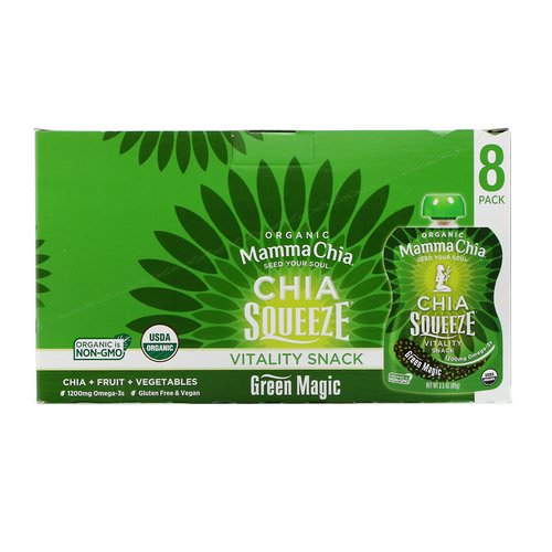Mamma Chia, Chia Squeeze Vitality Snack, Green Magic, 8 Squeeze, 3.5 oz (99 g) Each Review