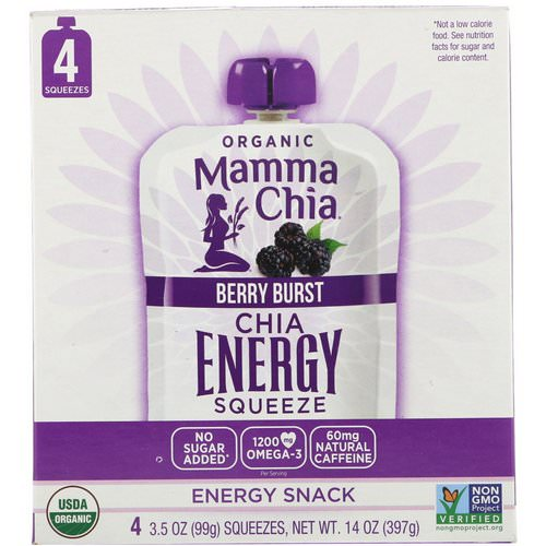 Mamma Chia, Organic Chia Energy Squeeze, Berry Burst, 4 Pouches, 3.5 oz (99 g) Each Review