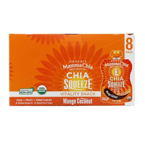 Mamma Chia, Organic, Chia Squeeze, Vitality Snack, Mango Coconut, 8 Squeeze, 3.5 oz (99 g) Each Review