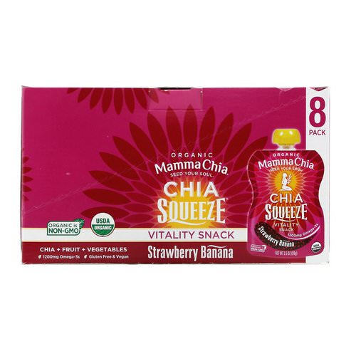 Mamma Chia, Organic Chia Squeeze Vitality Snack, Strawberry Banana, 8 Squeeze, 3.5 oz (99 g) Each Review