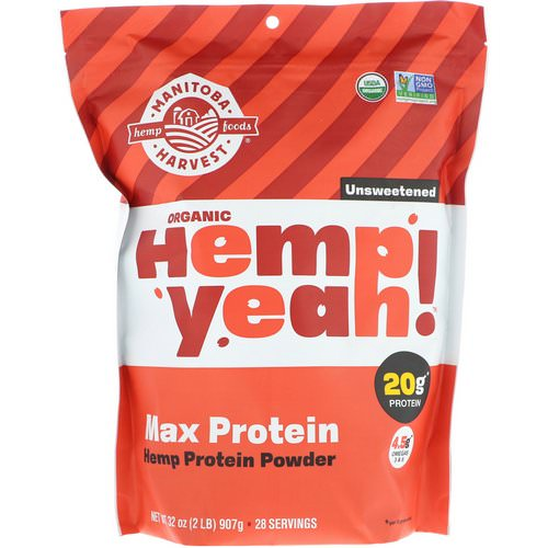Manitoba Harvest, Organic, Hemp Yeah! Protein Powder, Max Protein, Unsweetened, 32 oz (907 g) Review