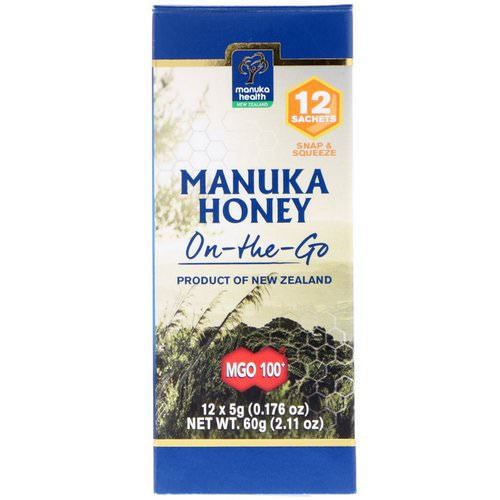 Manuka Health, Manuka Honey On-The-Go, MGO 100+, 12 Packets, 0.176 oz (5 g) Each Review