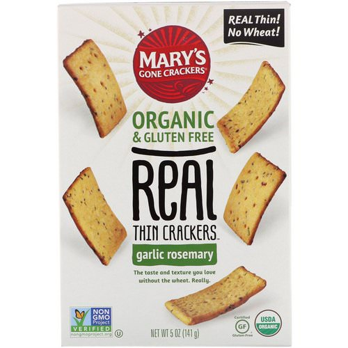Mary's Gone Crackers, Real Thin Crackers, Garlic Rosemary, 5 oz (141 g) Review