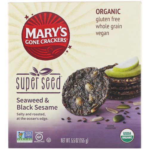 Mary's Gone Crackers, Super Seed Crackers, Seaweed & Black Sesame, 5.5 oz (155 g) Review