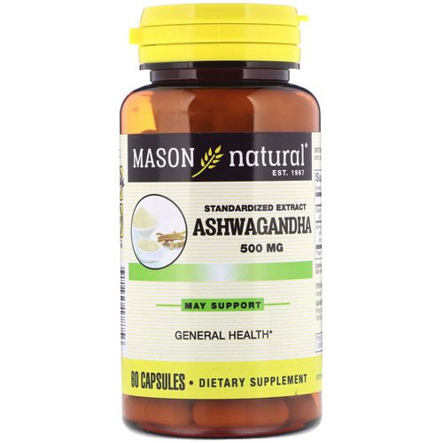 Mason Natural, Ashwagandha, Standardized Extract, 500 mg, 60 Capsules Review