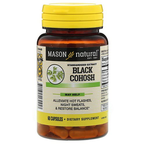 Mason Natural, Black Cohosh, Standardized Extract, 60 Capsules Review