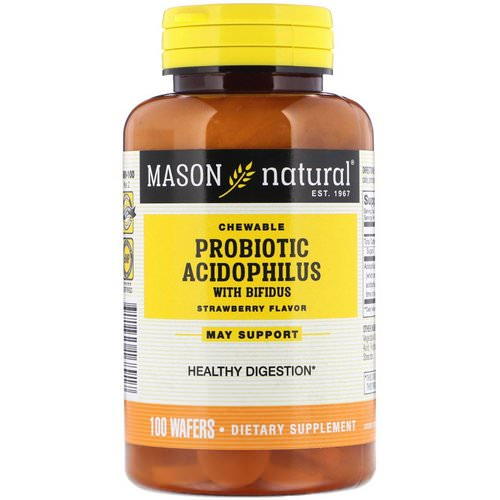Mason Natural, Chewable Probiotic Acidophilus with Bifidus, Strawberry Flavor, 100 Wafers Review