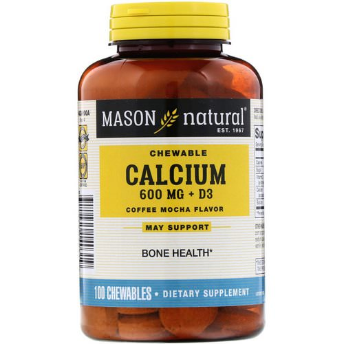 Mason Natural, Chewable Calcium + D3, Coffee Mocha Flavor, 600 mg, 100 Chewables Review