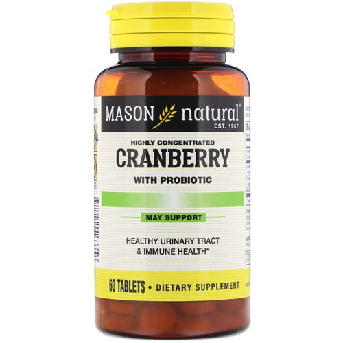 Mason Natural, Cranberry with Probiotic, Highly Concentrated, 60 Tablets Review