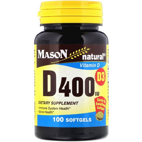 Mason Natural, Vitamin D3, 400 IU, 100 Softgels Review