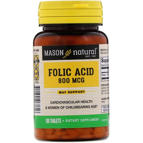 Mason Natural, Folic Acid, 800 mcg, 100 Tablets Review