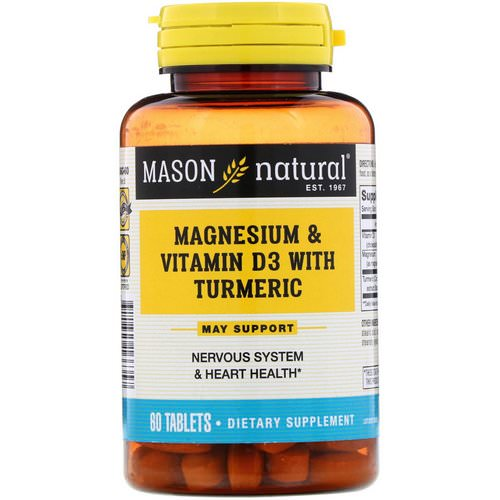 Mason Natural, Magnesium & Vitamin D3 with Turmeric, 60 Tablets Review