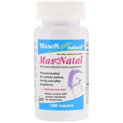 Mason Natural, MasoNatal Multivitamin / Multimineral Supplement, 100 Tablets Review