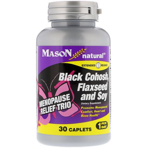 Mason Natural, Menopause Relief Trio, Black Cohosh, Flaxseed and Soy, 30 Caplets Review
