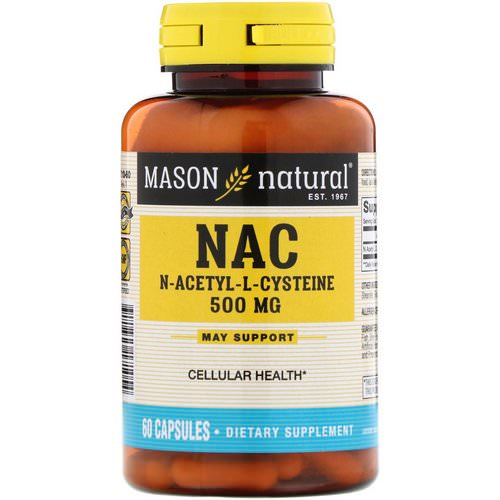Mason Natural, NAC N-Acethyl-L-Cysteine, 500 mg, 60 Capsules Review