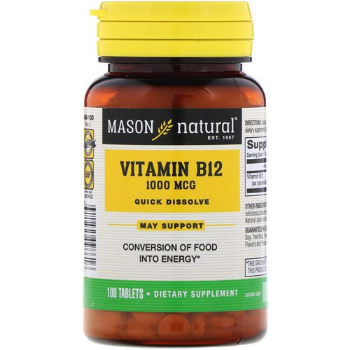 Mason Natural, Vitamin B-12, Quick Dissolve, 1,000 mcg, 100 Tablets Review