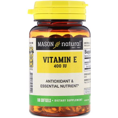 Mason Natural, Vitamin E, 400 IU, 100 Softgels Review