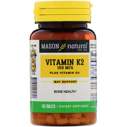 Mason Natural, Vitamin K2 Plus Vitamin D3, 100 mcg, 100 Tablets Review