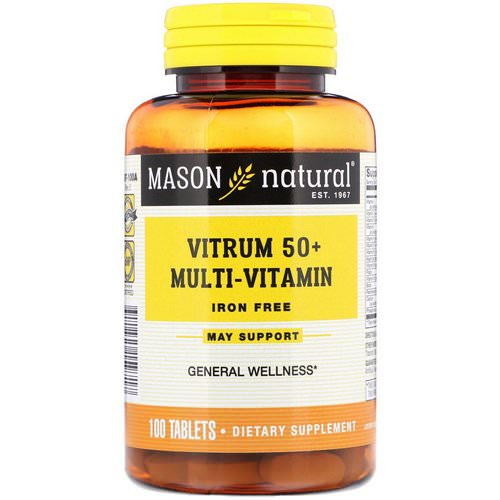 Mason Natural, Vitrum 50+ Multi-Vitamin, Iron-Free, 100 Tablets Review